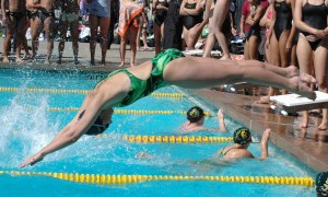 Lauren Wirdzec starts strong with a swift dive into the first event. Photo by Joelle Basett